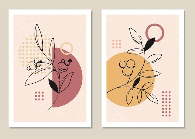 Ensemble botanique d'art mural dans le style de memphis.