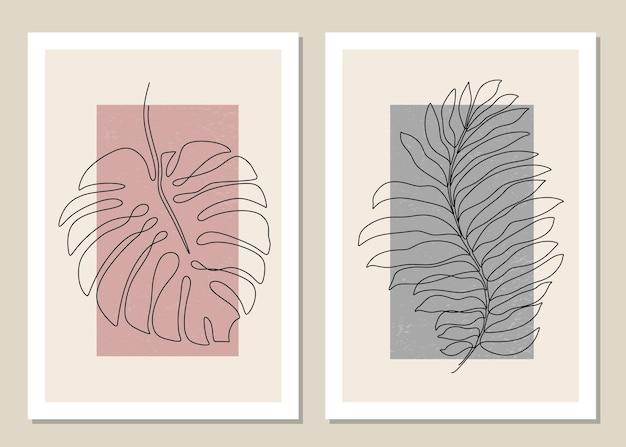 Ensemble botanique d'art mural feuille tropicale une ligne.