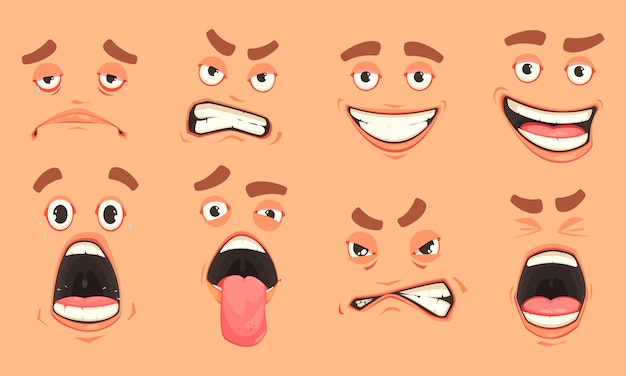 Ensemble de bouche d'hommes de dessin animé