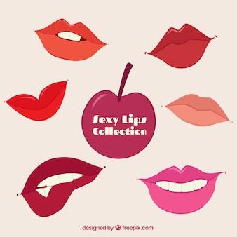 Ensemble de bouche avec des lèvres colorées