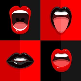 Ensemble de bouche avec des lèvres noires et rouges