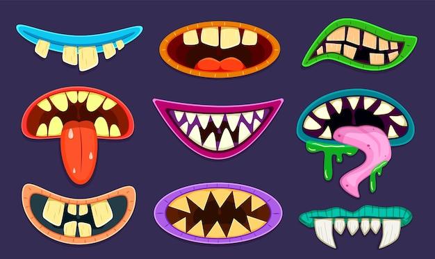 Ensemble de bouches de monstre de dessin animé