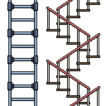 Ensemble de boucle d'escalier isolé pixel art
