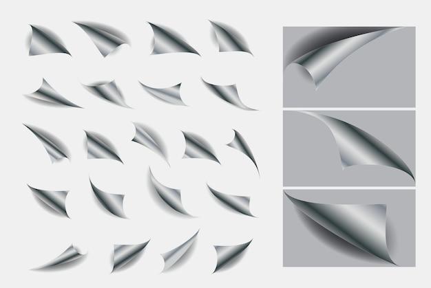 Ensemble de boucles de papier avec une ombre réaliste ou des coins recourbés livre vide vierge ou pli de page incurvé
