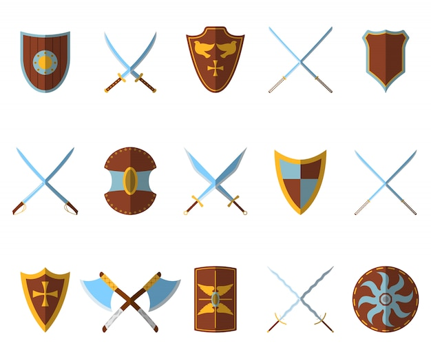 Ensemble de bouclier médiéval et d'armes