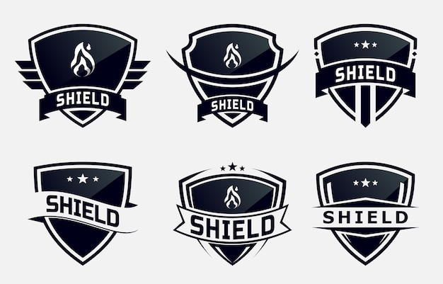 Ensemble de bouclier noir emblème ou badge. création de logo