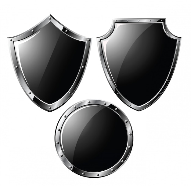 Ensemble de boucliers en acier noir
