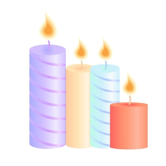 Un ensemble de bougies allumées. décoration pour la fête de noël, anniversaire, saint-valentin, salon de spa.