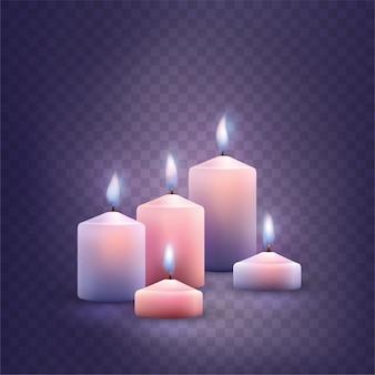 Ensemble de bougies allumées décoratives.