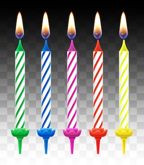 Ensemble de bougies colorées sur fond transparent