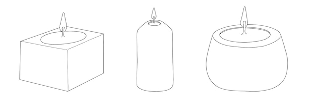Ensemble de bougies décoratives à la cire parfumée avec doodle de croquis linéaire de feu