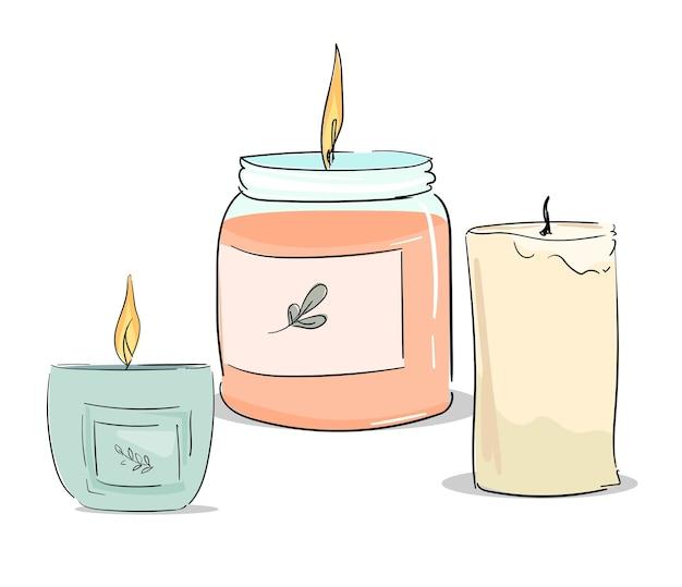 Ensemble de bougies élégant isolé sur fond blanc