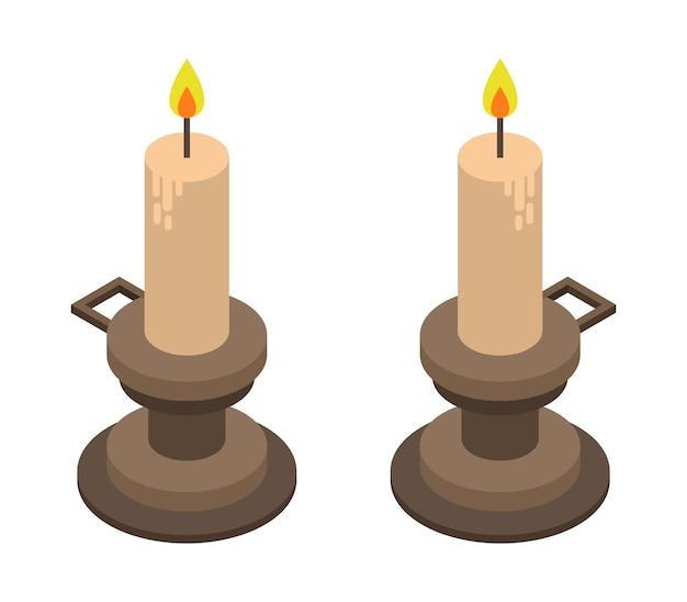 Ensemble de bougies d'halloween isométriques