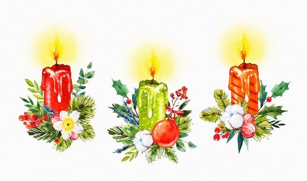 Ensemble de bougies de noël aquarelle