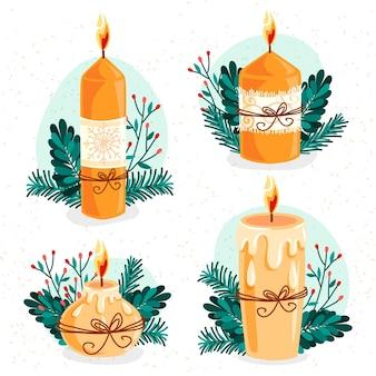 Ensemble de bougies de noël dessinées