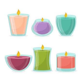 Ensemble de bougies parfumées dessinées