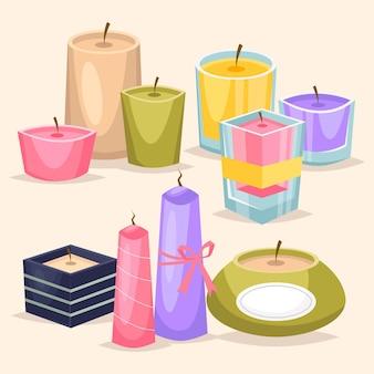 Ensemble de bougies parfumées détaillé