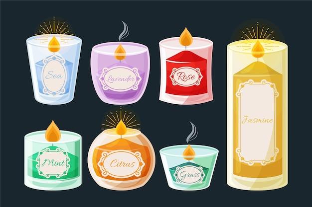 Ensemble de bougies parfumées plates