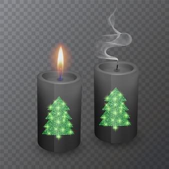 Ensemble de bougies réalistes de couleur noire avec un revêtement brillant en forme de sapin de noël, bougies de noël allumées et éteintes