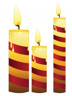 Ensemble de bougies rougeoyantes