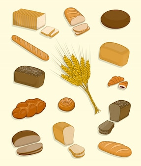 Ensemble de boulangerie et de confiserie sur fond blanc.