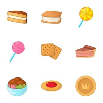 Ensemble de boulangerie sucré, style cartoon
