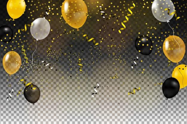 Ensemble de boule d'hélium or, noir, jaune, blanc isolé dans l'air. modèle de fond de célébration avec des ballons, des confettis et du ruban sur un fond transparent. illustration.