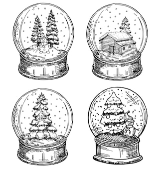 Ensemble de boule de noël. collection de boule de verre joyeux noël.
