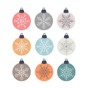 Ensemble de boule de verre décorations scandinaves de noël avec des flocons de neige dans un style plat