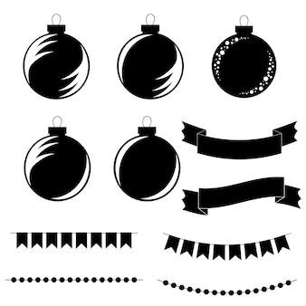 Ensemble de boules d'arbre de noël plat noir et blanc isolé, rubans et guirlandes.