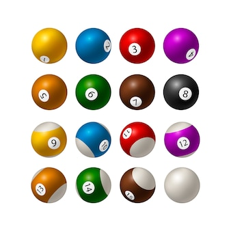 Ensemble de boules de billard sur fond blanc. illustration