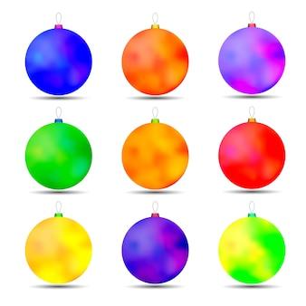 Ensemble de boules de jouets de noël de différentes couleurs