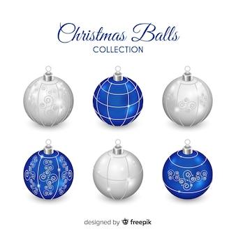 Ensemble de boules de noël bleu et argent