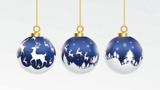 Ensemble de boules de noël bleu et blanc de vecteur avec ornements