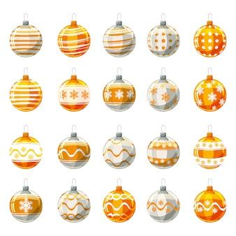 Ensemble de boules de noël jaune, couleur or décorée