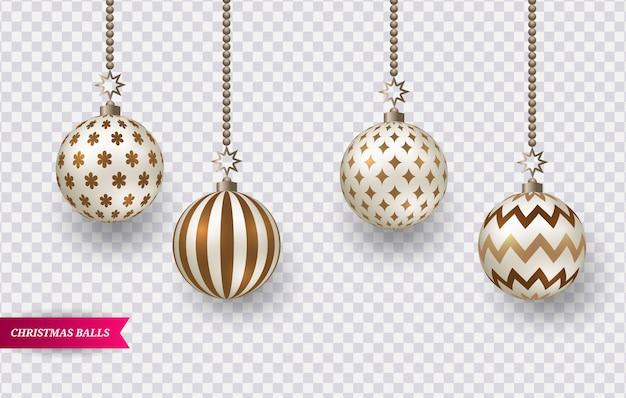 Ensemble de boules de noël réalistes marron - or avec différents motifs.