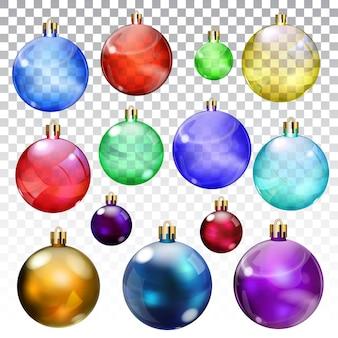 Ensemble de boules de noël transparentes et opaques de différentes couleurs et tailles