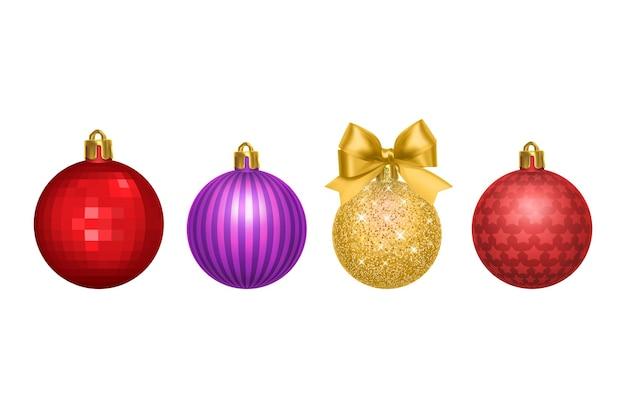 Ensemble de boules de noël vecteur coloré fond de nouvel an