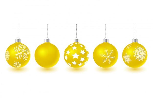 Ensemble de boules de noël en verre doré suspendus