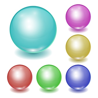 Ensemble de boules en plastique de couleur réaliste, sphères brillantes avec des correctifs