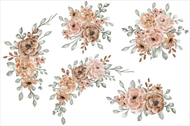 Ensemble de bouquet de composition florale avec rose et feuilles