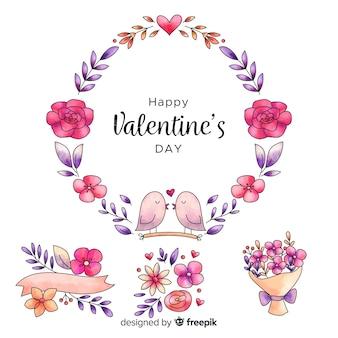 Ensemble bouquet de fleurs et couronne de saint-valentin