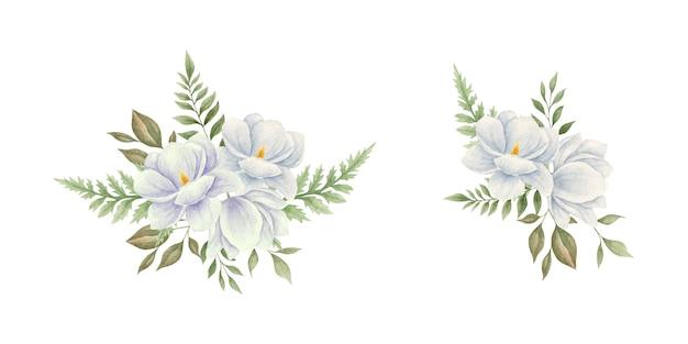 Ensemble de bouquet de fleurs de magnolia peint à la main aquarelle