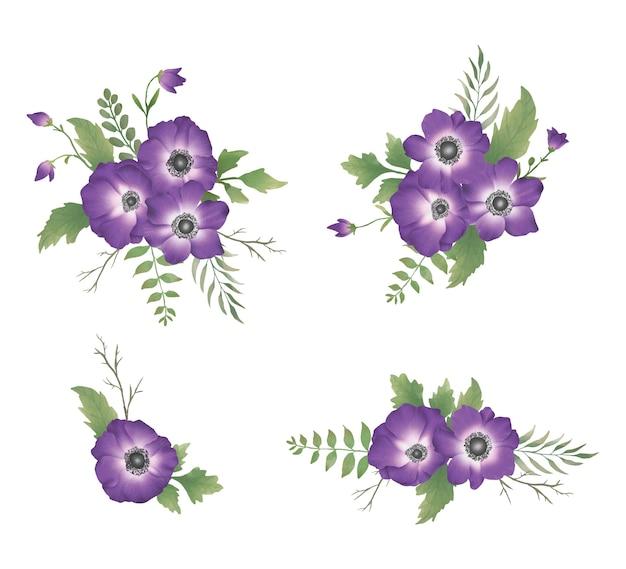 Ensemble de bouquet de fleurs pourpres aquarelle