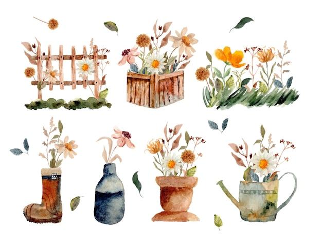 Ensemble de bouquet de fleurs sauvages à l'aquarelle dans le jardin