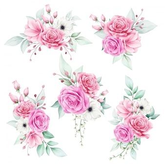 Ensemble de bouquet floral aquarelle romantique