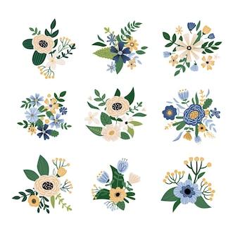 Ensemble de bouquet floral avec des feuilles de plantes et de fleurs