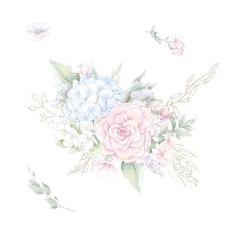 Un ensemble de bouquet de roses et d'orchidées délicates