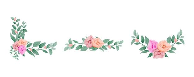 Ensemble de bouquets de cadre floral aquarelle dessinés à la main