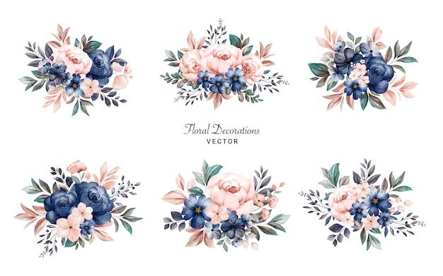 Ensemble de bouquets de cadre floral aquarelle de roses bleu marine et pêche